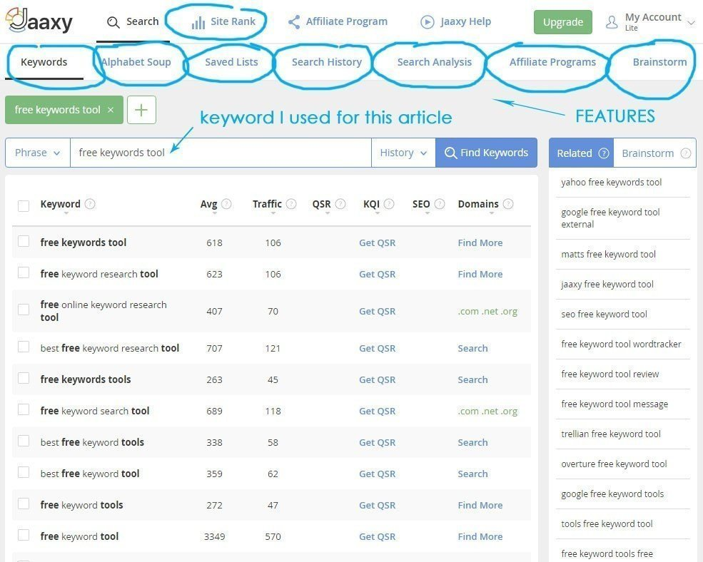 Jaaxy Free Keywords Tool Main Page