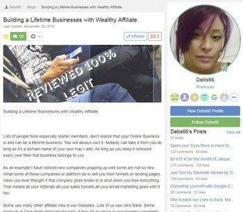 wealthy affiliate review testimonials Deb