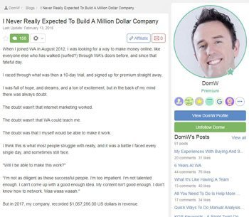 wealthy affiliate review testimonials Dom
