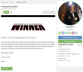 wealthy affiliate review testimonials Karen