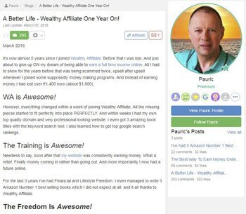 wealthy affiliate review testimonials Pauric