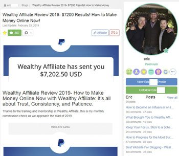 wealthy affiliate review testimonials Eric