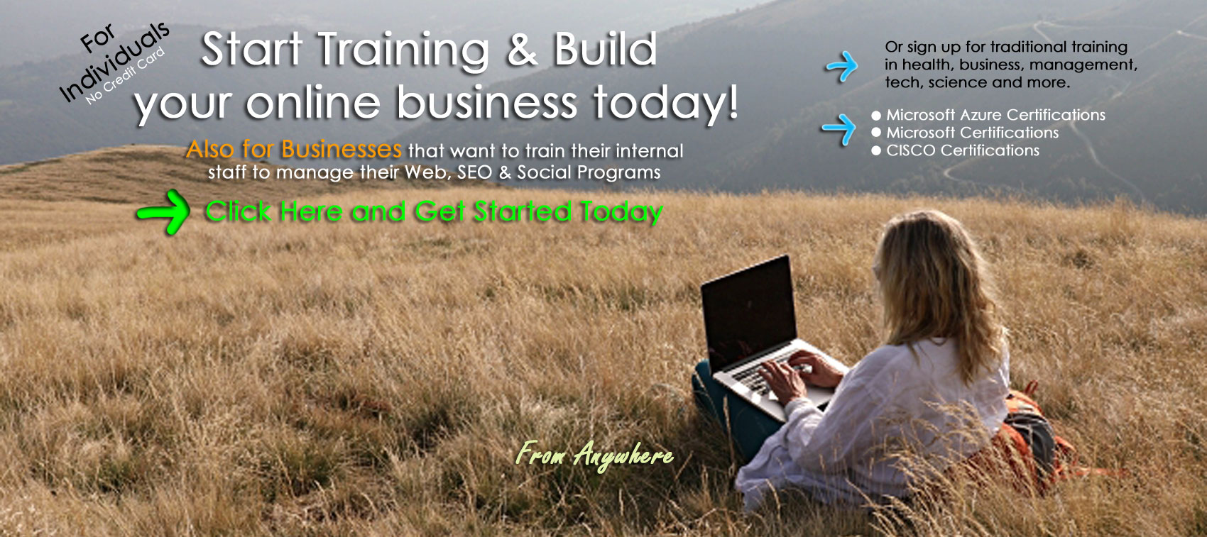 online business and training home page