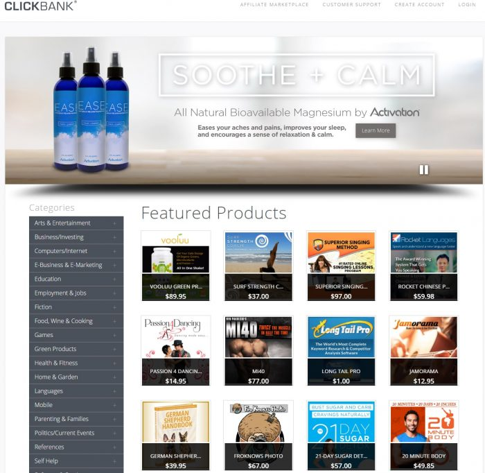choosing a product on click bank